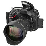 Digital camera, lens, open flash. Digital DSLR camera with optical zoom lens, open flash. 3D graphic Stock Photo