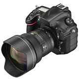 Digital camera, lens optics zoom. Digital DSLR camera with professional optics zoom lens. 3D graphic Royalty Free Stock Photo