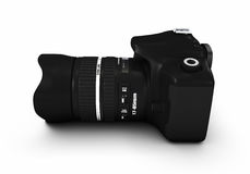 Digital camera and lens. Side view of digital camera and lens isolated on white background Royalty Free Stock Photography