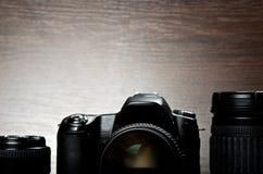 Digital camera and lenses Royalty Free Stock Photos