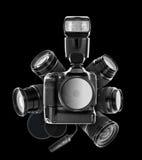 Digital camera and lenses Stock Photos