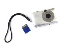 Digital camera with memory card Stock Images