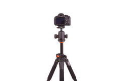 Digital camera mounted on tripod, isolated on white background Stock Photo