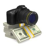 Digital Camera On White Background And Money. Isolated 3D Stock Photography