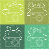 Digital Camera outline with Speech bubble Royalty Free Stock Photography