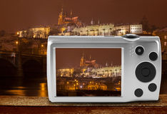 Digital camera photographing Prague castle, Czech Republic Stock Photo