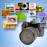 Digital camera and photographs Royalty Free Stock Photos