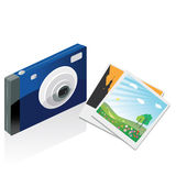 Digital camera and photos Royalty Free Stock Photos