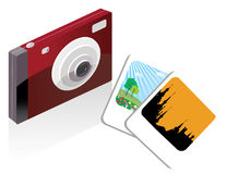Digital camera and pictures Royalty Free Stock Photos