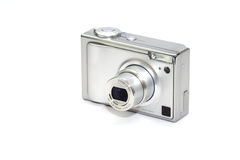 Digital Camera. Point and shoot digital camera on white background stock photography