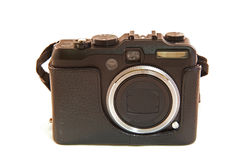 Digital Camera with a Retro Leather Case Isolated Royalty Free Stock Photo