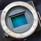 Digital camera sensor/APS-C CMOS sensor on a digital mirrorless Royalty Free Stock Images