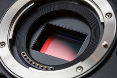 Digital camera sensor and mount. A close-up of a digital mirrorless camera sensor and lens mount Stock Image