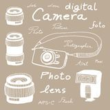 Digital camera sketch Royalty Free Stock Photo