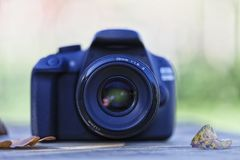 A digital camera on top of a wooden table with some fallen leave. S on a sunny autumn day Stock Photo