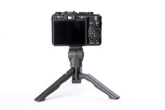 Digital camera on tripod Royalty Free Stock Images