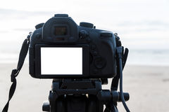 Digital camera on the tripod  white screen at the beach Stock Photo