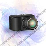 Digital camera vector illustration. Photo camera with background Royalty Free Stock Images
