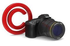 Digital camera on white background. Copyright photo.  3D Stock Image