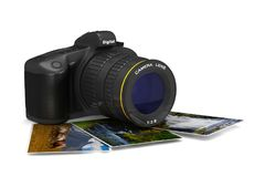 Digital camera on white background.  3D illustration Royalty Free Stock Images