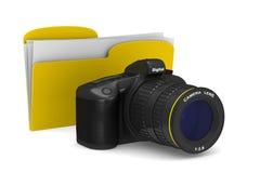 Digital camera on white background.  3D illustration Stock Photo