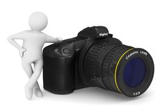Digital camera on white background and man. Isolated 3D illustra Royalty Free Stock Photo