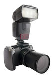 Digital camera with zoom barrel and flash Royalty Free Stock Photos