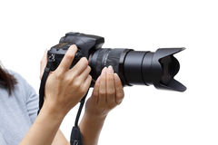 Digital camera with zoom lens stock photo