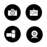 Digital cameras black icons set Stock Image