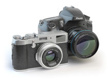 Digital cameras. Dslr and mirrorless stylized to retro vintage c Stock Photography