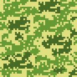 Digital camouflage seamless patterns. Set green squares stock illustration