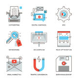 Digital campaign development line icons set. Thin line icons of digital marketing campaign, video viral advertising, text copywriting, website SEO optimization Stock Photography