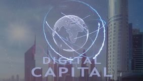 Digital capital text with 3d hologram of the planet Earth against the backdrop of the modern metropolis