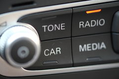Digital car radio buttons. Button panel for a modern hifi car radio system stock photography