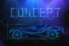 Mechanics and race concept. Digital car sketch on blue background. Mechanics and race concept. 3D Rendering Stock Photo