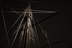 Digital caravel rigging. Stylized caravel from the discoveries rigging. Digital working over a photo of mine Stock Photo