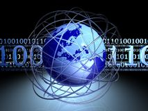 Digital chaos around globe Stock Photo