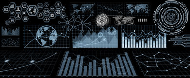 Digital charts and screen interface Stock Images