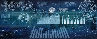 Digital charts and screen interface. Numerous charts, screens and graphics background interface Stock Photos