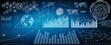 Digital charts and screen interface. Numerous charts, screens and graphics background interface Stock Photo