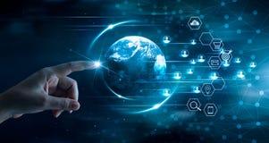 Digital che commercializza concetto, tecnologia di affari, pagamenti mobili, rete bancaria, acquisto online fotografia stock libera da diritti