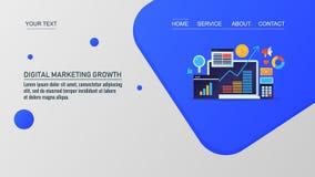 Digital che commercializza crescita, ottimizzazione online di crescita di affari, illustrazione di vettore illustrazione vettoriale