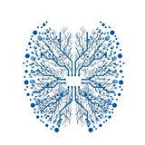 Digital chip brain illustration. On white background stock illustration