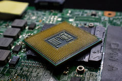 Digital chip-set motherboard with processor chip Royalty Free Stock Image