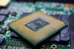 Digital chip-set motherboard with processor chip Stock Photos