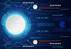 Digital cinzento branco do círculo abstrato do conceito da tecnologia olá! na tecnologia ilustração stock