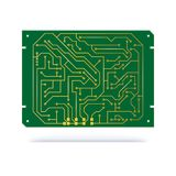 Digital circuit Board isolated on white. Copper contacts on green textolite Board for technology background. Electronic. Computer hardware technology Stock Image