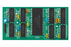 Digital circuit board with microchips Royalty Free Stock Photos