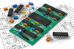 Digital circuit board with microchips Stock Image