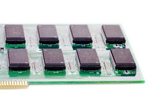 Digital circuit board with microchips royalty free stock photography